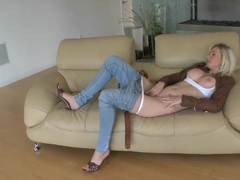 Beautiful blonde Margo Russo loves stroking her huge melons