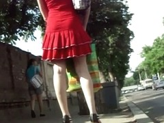 Cute brunette in red dress upskirt