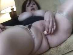 Glam busty mature solo anal toy fun