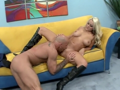 Attractive blonde piece of tail uses her tits to pleasure her lover