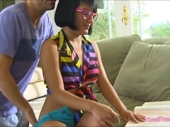 Pretty black haired teen girl Liv Aguilera cum on glasses