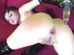 Hot solo girl playing with big dildos