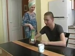 Russian Redhead Milf in kitchen