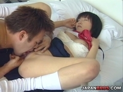 Teeny Japanese Asian school riding her man's stiff boner