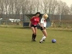 Two Sexy Teen Girls Outdoor Lesbian Football Fun