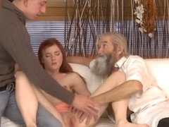 DADDY4K. Boy caught old dad fingering his GF and quickly joined them