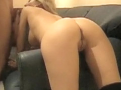 Hot wife gets bent over the sofa and analized hard from behind