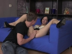 Katherine in beautiful slut makes a hot deep throat video
