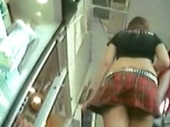 Upskirt schoolgirl video with hot chick caught on the street