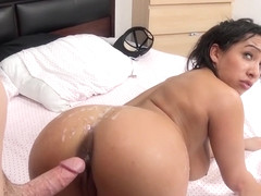 Busty Priya Price goes for a cock ride using a vibrator and giving head