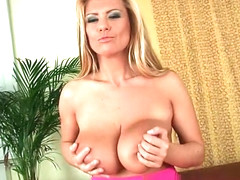 Mom's big mature tits get a cum glazing