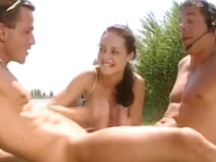 DP and 2 cocks in her mouth