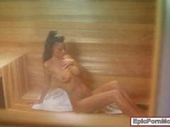 Big natural tits babe Whitney Westgate pounded in sauna