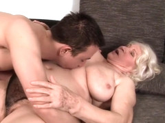 Big saggy tit granny gets a youngster to do the dirty with her