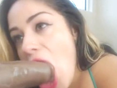 Amazing Busty Babe Blowing A Monster Cock