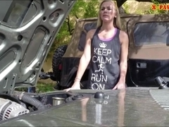 Blonde slut sells her car and got fucked in the backroom